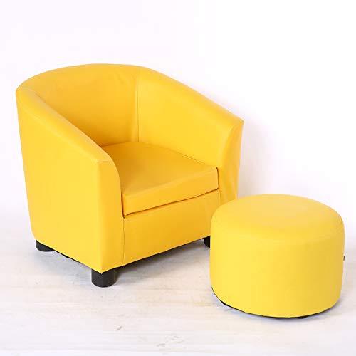 Htimer Canapé pour Enfant Garçon en Cuir Art Mini-canapé Canapé-lit pour bébé Joli Tabouret en Cuir pour bébé, Chaise d'enfant, Jaune + Tabouret