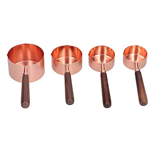 Duokon Tazas medidoras de 4 Piezas, Tazas medidoras de Acero Inoxidable apilables con Escala para seco o líquido (Oro Rosa)(L)