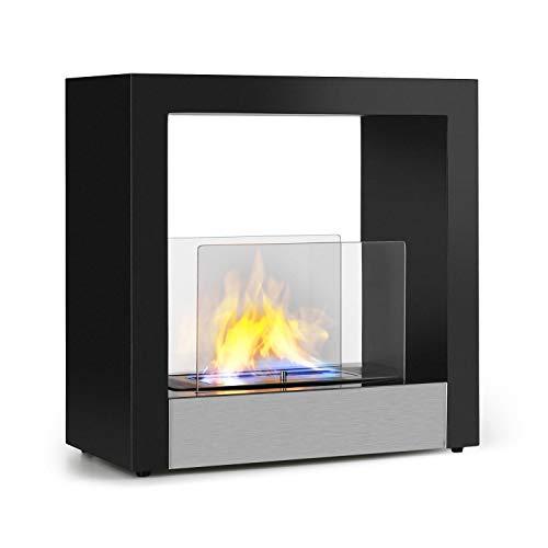 Klarstein Phantasma Cube cheminée éthanol - brûleur bio-éthanol inodore et sans fumée en inox, réservoir de 1,3L, durée de combustion d'environ 4h, auxiliaire d'extinction, inox et verre, noir