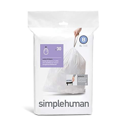 SIMPLEHUMAN Set Basura (B) 6 L, Blanco, 1 paquete de 30 | 30 Bolsas