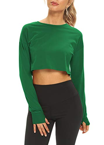Mippo Long Sleeve Crop Tops Workout Shirts for Women Long Sleeve Athletic Gym Tee Shirts Cropped Sweatshirts Womens Activewear Tops Fitness Exercise Clothes Green S