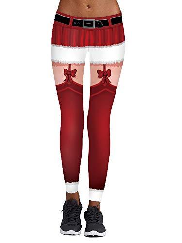 Womens New Year Belt Printed Stretch Yoga Legging Pants Santa Claus Costume Red L