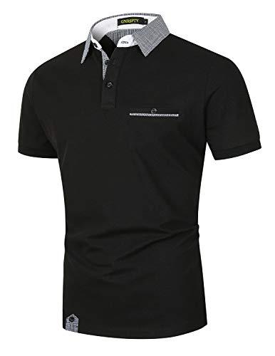 GNRSPTY Polos Manga Corta Hombre Verano Algodon Elegante con Bolsillo Real Casual Camisas Cuadros Golf Deporte Tennis Oficina T-Shirt Camisetas,Negro,XL