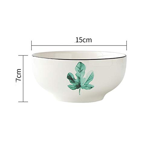 Keramik Reisschale Haushalt Instant Nudelschale Suppenschüssel Simple Stroke Green Plant Geschirr Obstschale Ramen Bowl