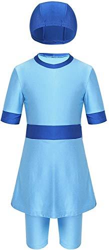 Kleidung Muslim Mädchen Burkini- for Kinder Moderne Drei-Stücke mit kurzen Ärmeln Schwimmen-Kleid mit Strechy Shorts Badeanzüge, Größe: 5-6 Jahre (Color : Sky Blue, Size : 8-10 Years)