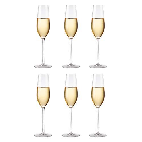 Copas De Copa De Champán De Cristal Sin Plomo, 225 Ml, Transparentes (juego De 6), Perfectas Para El Hogar, Restaurantes Y Fiestas
