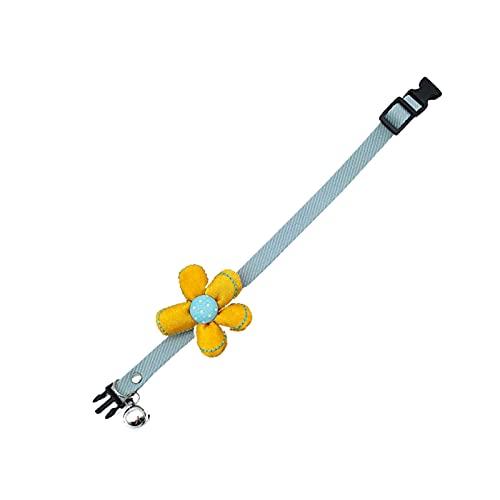 SpirWoRchlan Collar de flores para mascotas, poliéster suave ajustable cómodo para mascotas collar de gatito lazo decoración de flores con campana para producto de mascotas azul M