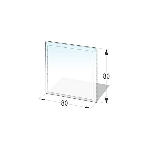 Kamin Glasplatte 'Quadrat 2' mit Facette - 800 x 800 x 6 mm Glasbodenplatte ESG
