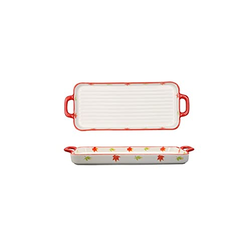 GYHJG Baking Pan Ins Net Red Small Fresh Japanese Double Ear Plate Long Plate Sushi Set Plate Snack Plate