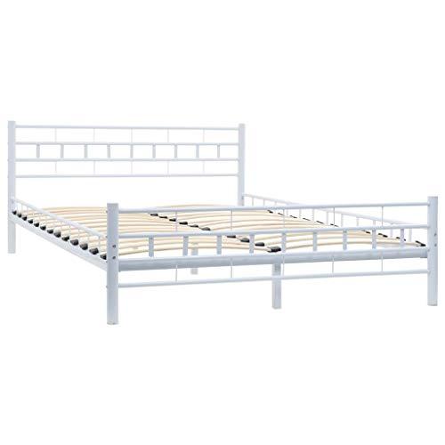 Nishore Metallbett mit Lattenrost | Metall Bettrahmen | Modern Bettgestell | Doppelbett | Block-Design Elegante Note Weiß Metallrahmen 140 x 200 cm