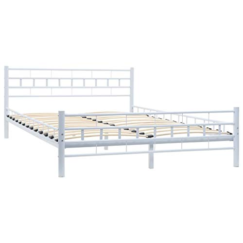 Festnight Metallbett mit Lattenrost | Metall Bettrahmen | Modern Bettgestell | Doppelbett | Block-Design | Weiß Metallrahmen 140 x 200 cm