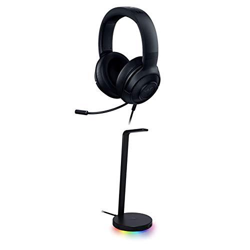 Razer Kraken X Ultralight Gaming Headset: 7.1 Surround Sound - Lightweight Aluminum Frame - for PC, PS4, PS5, Switch, Xbox One, Xbox Series X & S, Mobile - Black + Base Station V2 Chroma