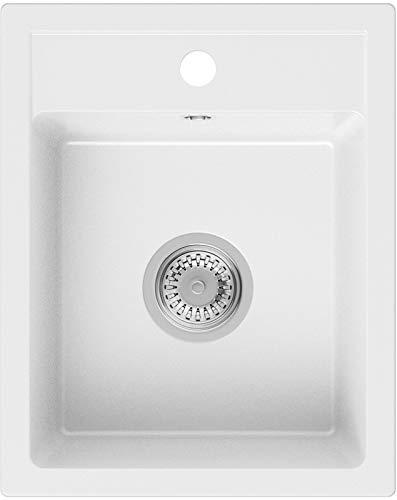 PRIMAGRAN Fregadero de Granito - Riga, Lavabo Cocina Un Seno + Sifón Clásico, Fregadero Empotrado 40 x 50 cm, Blanco