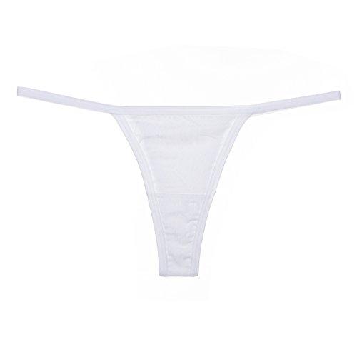 Xiaopang Tanga Cinturón Fino Algodón Tanga Mujer Deportes De Baile Anti-luz De Color Sólido Cintura Baja Señoras Ropa Interior Traje De Baño Pantalones Inferiores L Blanco