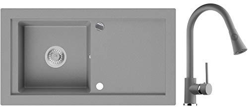 Granitspüle Grau 89 x 49,5 cm, Spülbecken + Küchenarmatur + Siphon Automatisch, Küchenspüle ab 60er Unterschrank in 5 Farben mit Armatur Varianten, Einbauspüle von Primagran