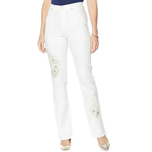 DG2 by Diane Gilman Women's Peacock Embellished Boot Cut Jeans 16 Ivory
