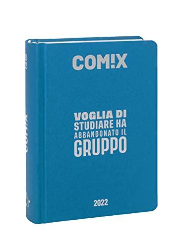 Comix - Diario 2021/2022 16 Mesi - Cyan Fluo scritta Argento - Standard