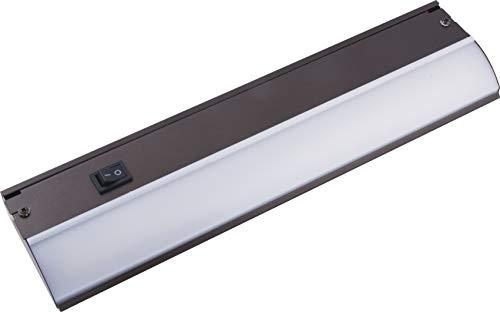GE 12 Inch LED Premium Under Cabinet Light Fixture, Bronze Finish, Direct Wire, Warm White 3000K, 485 Lumens, Steel Housing, On/Off Switch, Kitchen, Office, Vanity, Display, Garage, Workbench, 38886