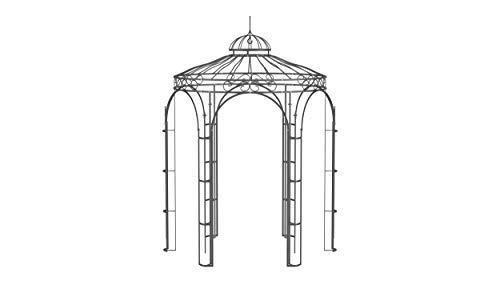 ELEO Siena wunderschöner Gartenpavillon Winterfest I Stabiler Rundpavillon Anthrazit Ø 2,1 m I Romantischer Rosenpavillon aus Schmiedeeisen I Pavillon für Garten