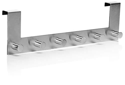 COM-FOUR® deur kapstok van roestvrij staal met 6 haken - wand kapstok om aan de deur te hangen - deurhaak voor jassen - kapstok deur (01-delig - roestvrij staal)