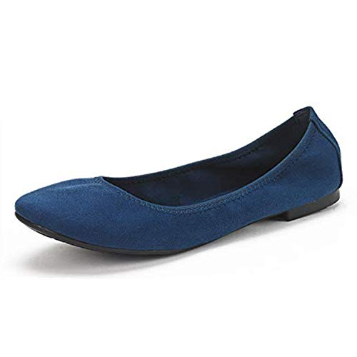 DREAM PAIRS Women's Latte Navy Comfort Ballet Flats Shoes Size 6 B(M) US
