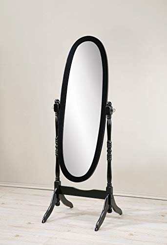 cheap Traditional Queen Anne style round hill Audi furniture, Cheval mirror black wooden floor mirror