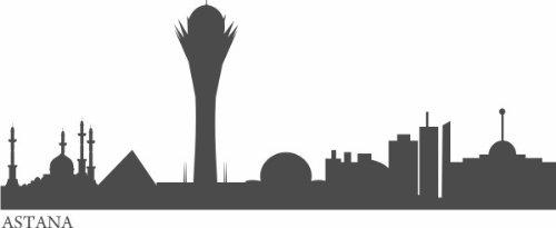 WANDTATTOO e515 Skyline Stadt - Astana (Kasachstan) 240x91 cm - glasdekor