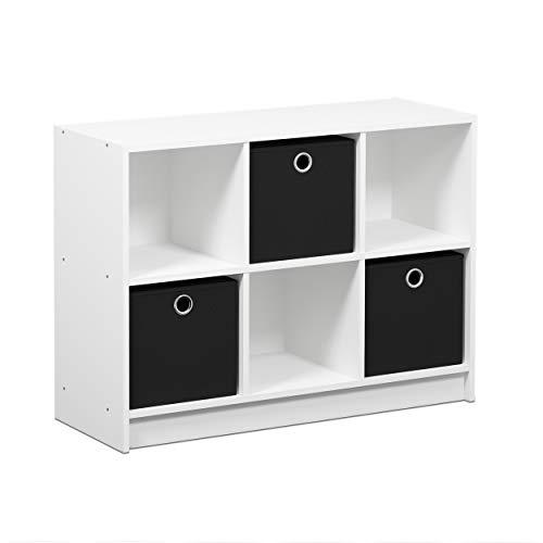 FURINNO Basic 3x2 Bookcase Storage, White/Black