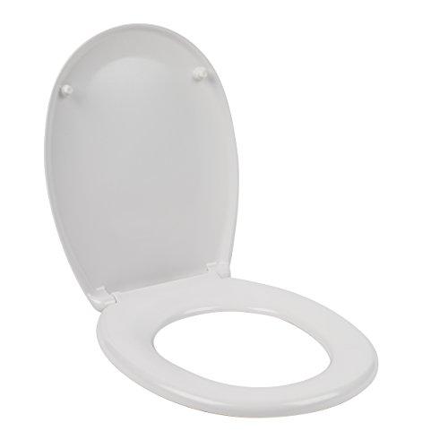 Beldray® LA030252 Tapa de WC, Asiento inodoro Duroplástico de cierre suave, Instalación rápida y fácil, Bisagras de aleación de zinc, Se ajusta a la mayoría de los inodoros estándar, Blanco
