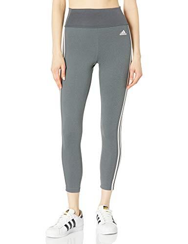 adidas womens High Rise 3-stripes 7/8 Tights Dark Grey Heather/White 3X