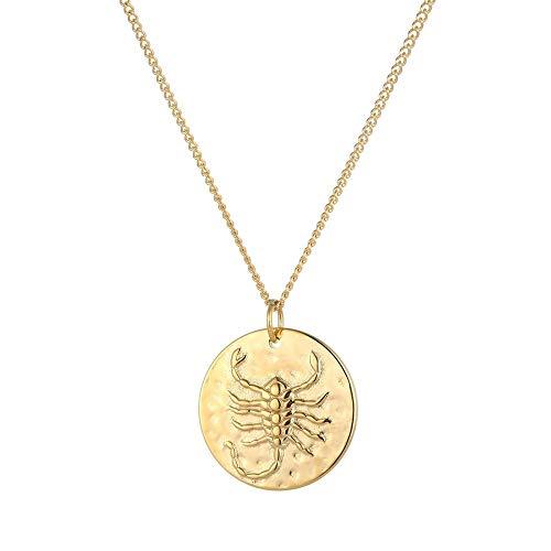 Tribal Spirit Kette Anhänger Skorpion Scorpion Sternzeichen Tierkreiszeichen Edelstahl Silber Gold Farbe Gold