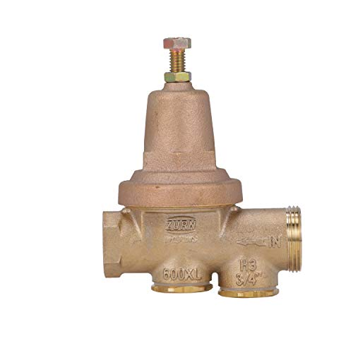 Zurn Wilkins Model 34-600XL 3/4' Water Pressure Reducing Brass Valve with Integral By-pass Check Valve and Strainer, FNPT Union x FNPT, Lead Free
