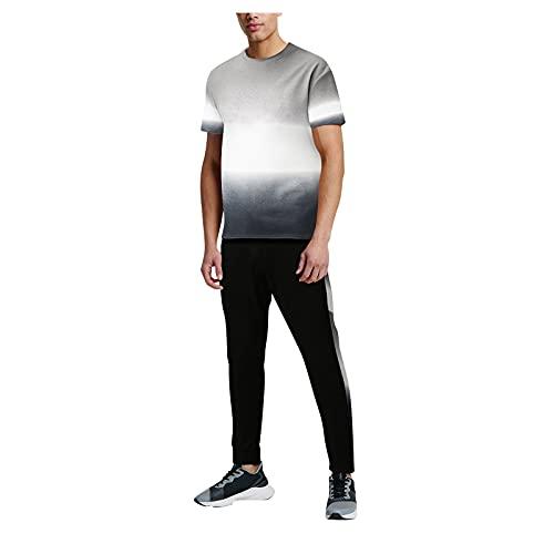 GenericBrands Taurner Moda 2 Piezas Juego de Chándal Deportivo Casual Camisetas Patchwork Hombres Pantalones de Deporte para Correr
