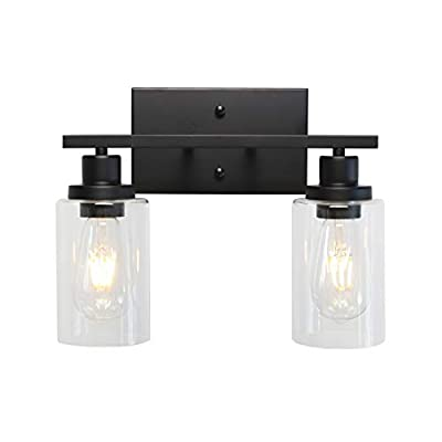 MELUCEE 2-Light Black Wall Sconce Industrial Vintage with Clear Glass Shade and Metal Base, Bathroom Vanity Lights Hallway Light Fixture Sconces Wall Lighting