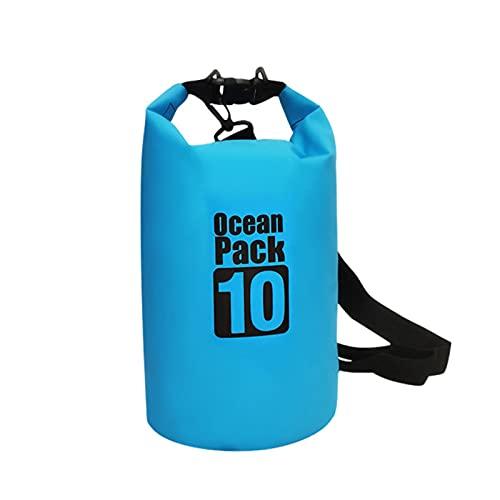 Kabxhueo Bolsa Seca Impermeable, Mochila Seca Flotante Bolsa de Playa Saco seco liviano con Correa de Hombro Ajustable para Kayak, natación, Rafting, Camping 5L 10L 15L 20L 30L,Azul,10L