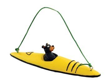 Bear Kayaking Kayak Figure Collectible Ornament, 4-inch, Tree Decoration, Yellow or Red Color