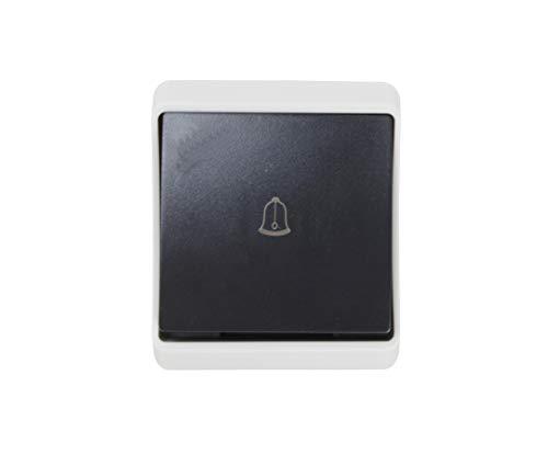 Pulsador timbre exterior, impermeable ip54 color negro.