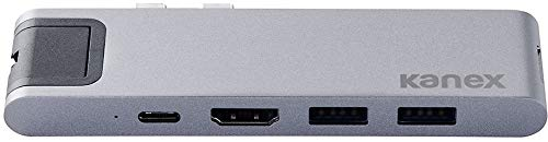 Kanex Iadapt 7 in 1 - Hub multiporta USB-C con alimentazione USB-C, SD, Micro SD, USB 3.0, HDMI 4K, Gigabit Ethernet, adattatore in alluminio grigio spazio per MacBook
