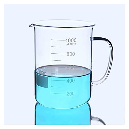 BQFLZY Laboratorio Durable Cubilete De Vidrio con Asa para El Hogar Gasmware Experimento Químico Equipo De Enseñanza Resistencia De Alta Temperatura (Size : 1000ml)