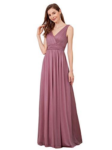 Ever-Pretty Women's Double V Neck Sleeveless Empire Waist Floor Length Elegant Bridesmaid Dresses Orchid 10UK