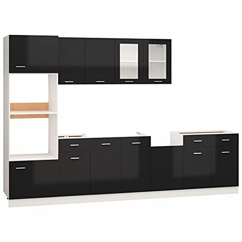 Tidyard Juego de Muebles de Cocina Mueble de Comedor, Mueble Salon, Modelo Essential, Acabado 1# 7 Piezas aglomerado Negro Brillo