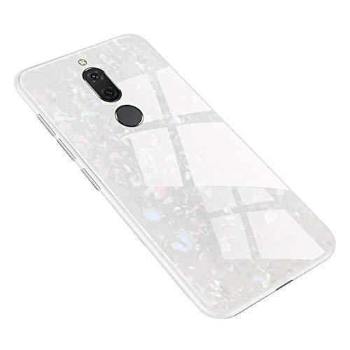 Shunda Capa para Huawei Mate 10 Lite, Capa traseira de vidro temperado brilhante [sem protetor de tela] Capa dura antiarranhões para Huawei Mate 10 Lite/Nova 2i/Maimang 6 - Branca
