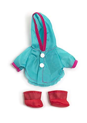 Miniland poppenkleding, 21cm Regenjas met capuchon en regenlaarzen. 21cm turquoise, rood.