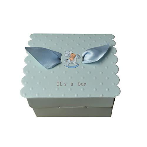 FLOWOW 50pcs personalità Creativa Blu cubo Scatola portaconfetti scatolina portariso bomboniera segnaposto per Compleanno Battesimo Comunione Bimbo Bambino Nascita Natale