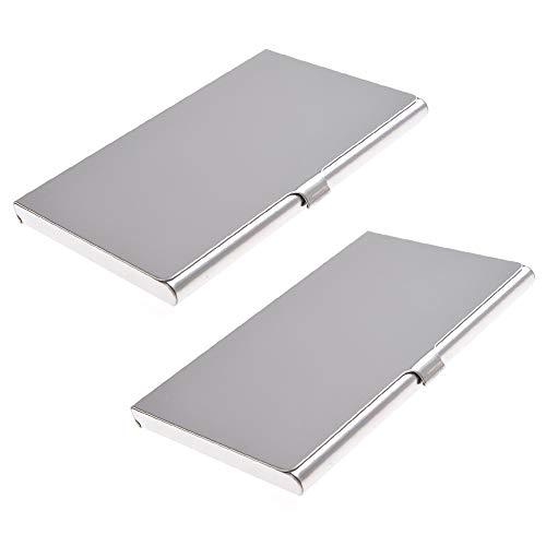 Material avanzado: Este soporte para tarjetas de visita está hecho de aluminio de alta calidad. Todos los productos son 100% nuevos. Siempre luce como nuevo, incluso si lo has usado durante mucho tiempo. Alta capacidad: mantiene aproximadamente 10 -1...