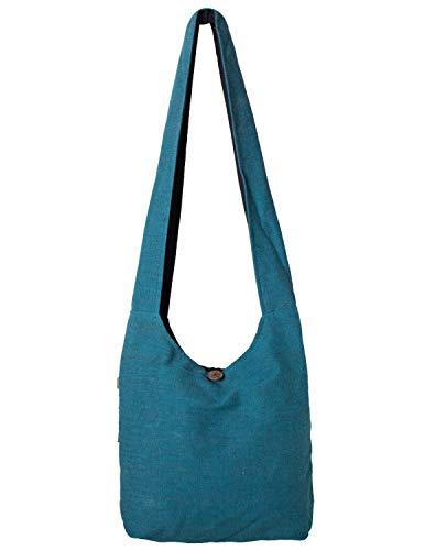 Vishes - Stoff Shopper Stofftasche Einkaufstasche Umhängetasche große Beuteltasche Schultertasche - Damen Herren türkis
