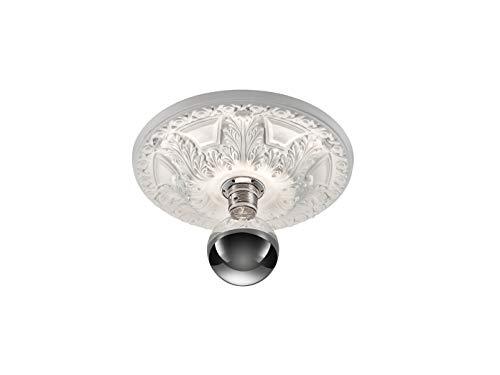 Bemalbare LED Rosetten Deckenleuchte aus weißem Gips mit rundem Blument Ornament Design 30 cm