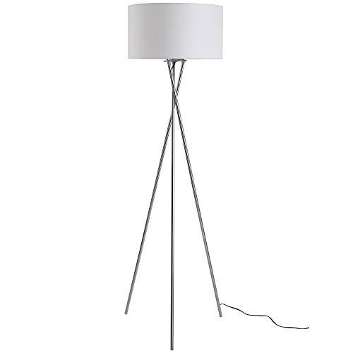 homcom Elegante Lampada da Terra a Treppiede con Paralume in Tessuto Bianco e Gambe Intrecciate, Lampadine E27 Φ48 x 162cm