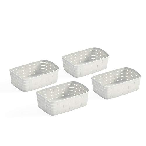 Use Family - 4 Cestas Almacenaje Baño Plástico   Cajas Organizadoras en Material Reciclable. (blanco Roto, 2,5 L)