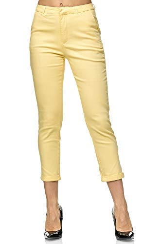 Elara Damen Chinohose Stoffhose Chunkyrayan VS19026-71 Yellow-38 (M)